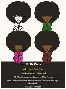 Digital Download  -  Afro and Bow Tie - SVG Layered File and PNG File Format - Cocoa Twins