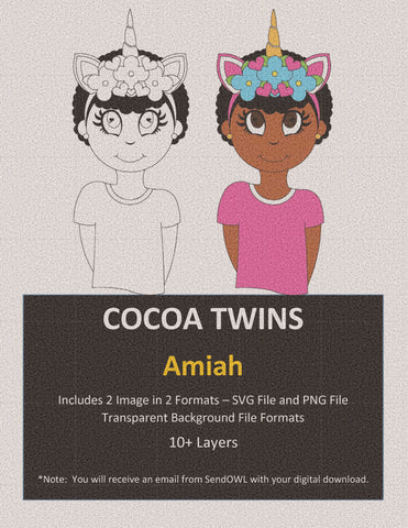 Digital Download  - Amiah - SVG Layered File and PNG File Format - Cocoa Twins