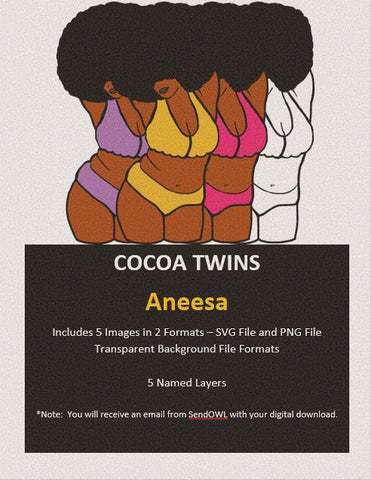 Digital Download  - Aneesa - SVG Layered File and PNG File Format - Cocoa Twins