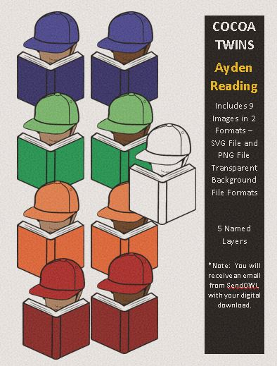 Digital Download  - Ayden Reading - SVG Layered File and PNG File Format - Cocoa Twins