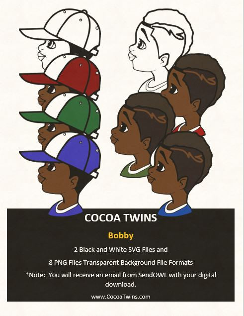 Digital Download  - Bobby - SVG Layered File and PNG File Format - Cocoa Twins