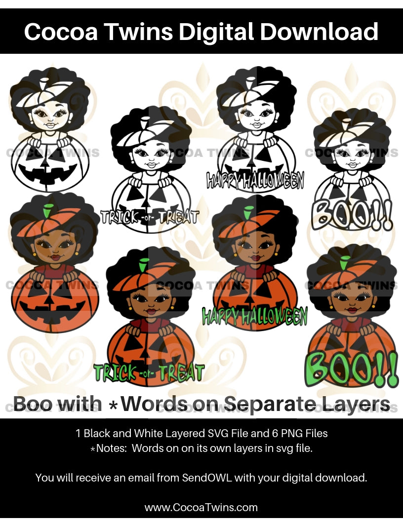 Digital Download  -  Boo - SVG Layered File and PNG File Format - Cocoa Twins