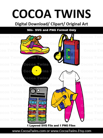 Digital Download  -  90s - SVG Layered File and PNG File Format
