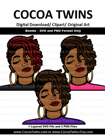 Digital Download  -  Bonnie - SVG Layered File and PNG File Format