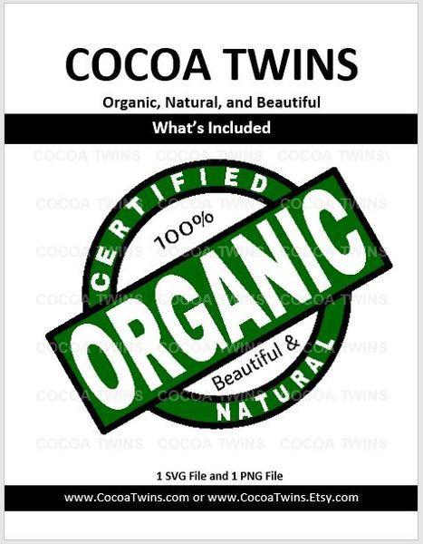 Digital Download  - Certified Organic - SVG and PNG Format - Cocoa Twins
