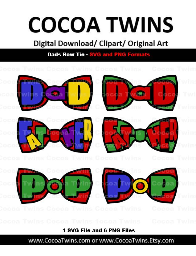 Digital Download - Dads Bowtie - SVG Layered File and PNG File Format