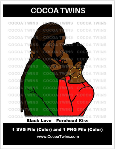 Digital Download  - Black Love - Forehead Kiss - SVG Layered File and PNG File Format - Cocoa Twins