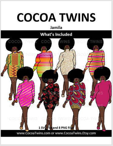 Digital Download  - Jamila - SVG and PNG Formats - Cocoa Twins
