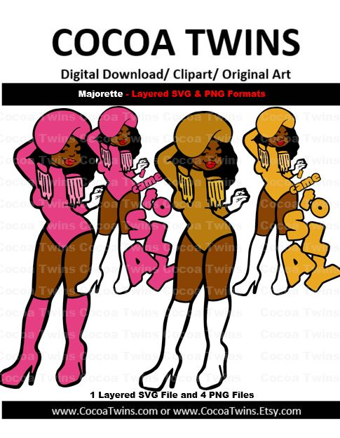 Digital Download  - Majorette- SVG Layered File and PNG File Format