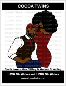 Digital Download - Black Love - Man Sitting & Woman Standing - SVG Layered File and PNG File Format - Cocoa Twins