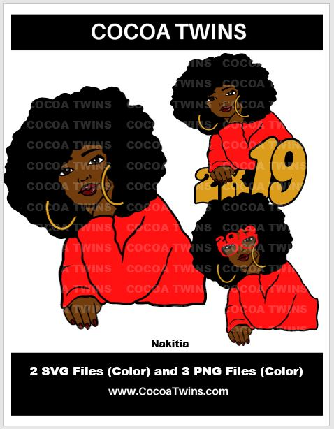 Digital Download  -  Nakitia - SVG Layered File and PNG File Format - Cocoa Twins