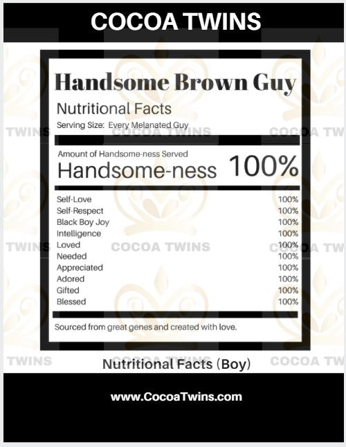 Digital Download  - Pretty Brown and Handsome Brown Guy Girl Facts - JPG File and PNG File Format - Cocoa Twins