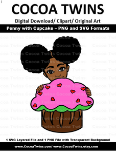 Digital Download  -  Penny with Her Cupcake -  SVG Layered File and PNG File Format