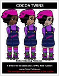 Digital Download  - Roller Skating Princess - SVG Layered File and PNG File Format - Cocoa Twins