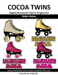 Digital Download  - Roller Skates -  SVG Layered File and PNG File Format