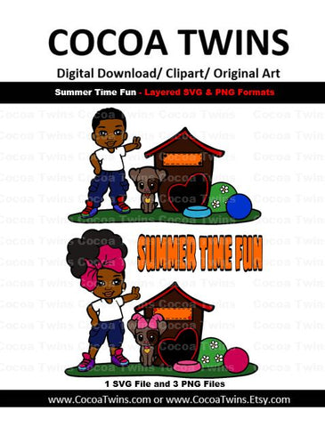 Digital Download  - Summer Time Fun - SVG Layered File and PNG File Format