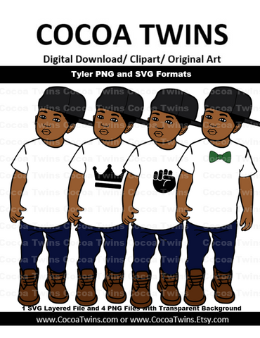 Digital Download  - Tyler - SVG Layered File and PNG File Format