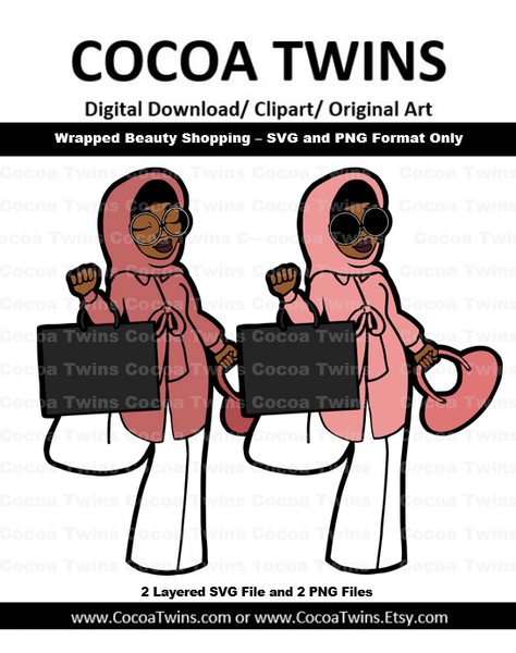 Digital Download  - Wrapped Beauty Shopping - SVG Layered File and PNG File Format