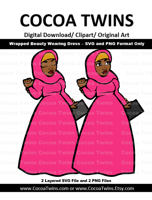 Digital Download  - Wrapped Beauty Wearing Dress - SVG Layered File and PNG File Format