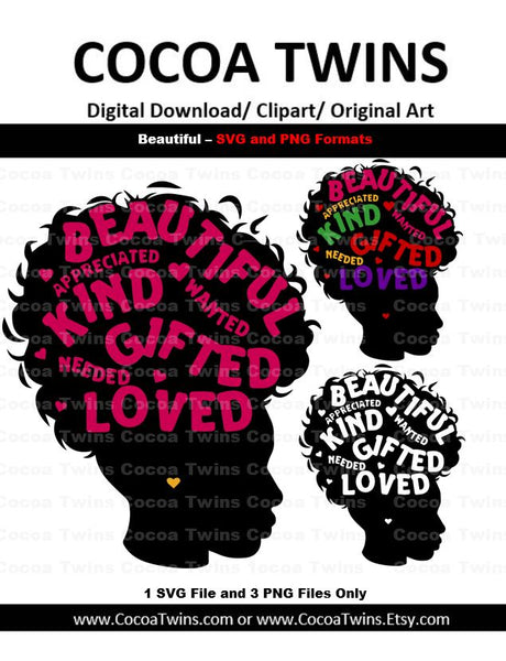 Digital Download  -  Beautiful, Kind and Gifted