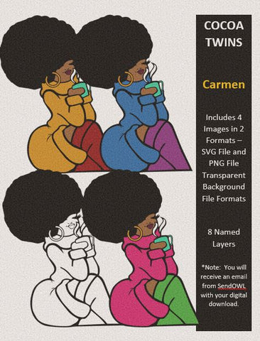 Digital Download  - Carmen - SVG Layered and PNG File Formats - Cocoa Twins