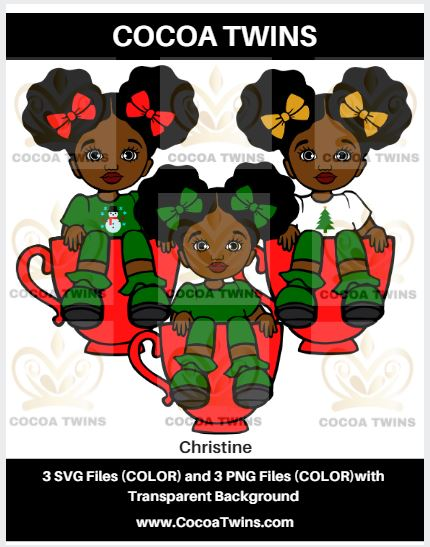 Digital Download  - Christine - SVG Layered File and PNG File Format - Cocoa Twins