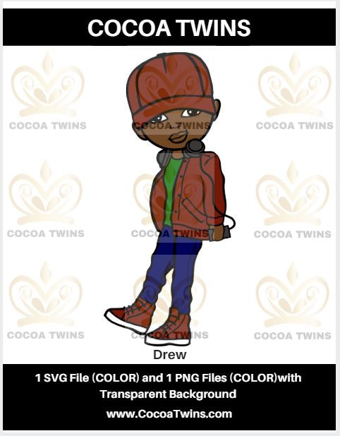Digital Download  - Drew - SVG Layered File and PNG File Format - Cocoa Twins