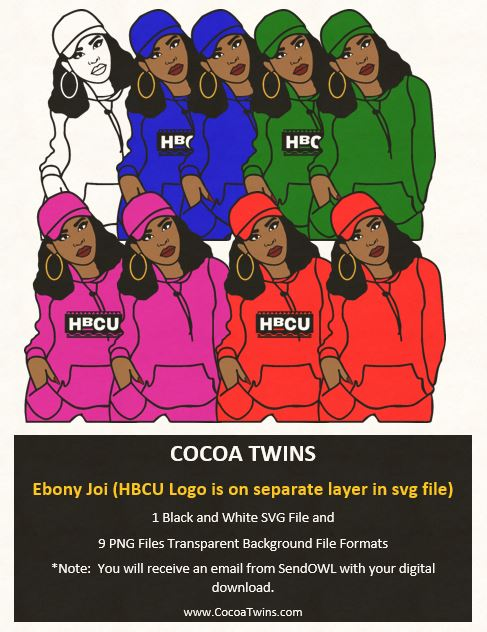 Digital Download  -  Ebony Joi - SVG Layered File and PNG File Format - Cocoa Twins