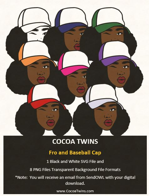 Digital Download  -  Fro'd with Baseball Cap - SVG Layered File and PNG File Format - Cocoa Twins