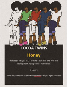 Digital Download  - Honey - SVG Layered File and PNG File Format - Cocoa Twins