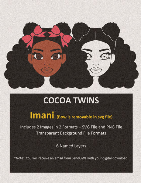 Digital Download  - Imani - SVG Layered File and PNG File Format - Cocoa Twins