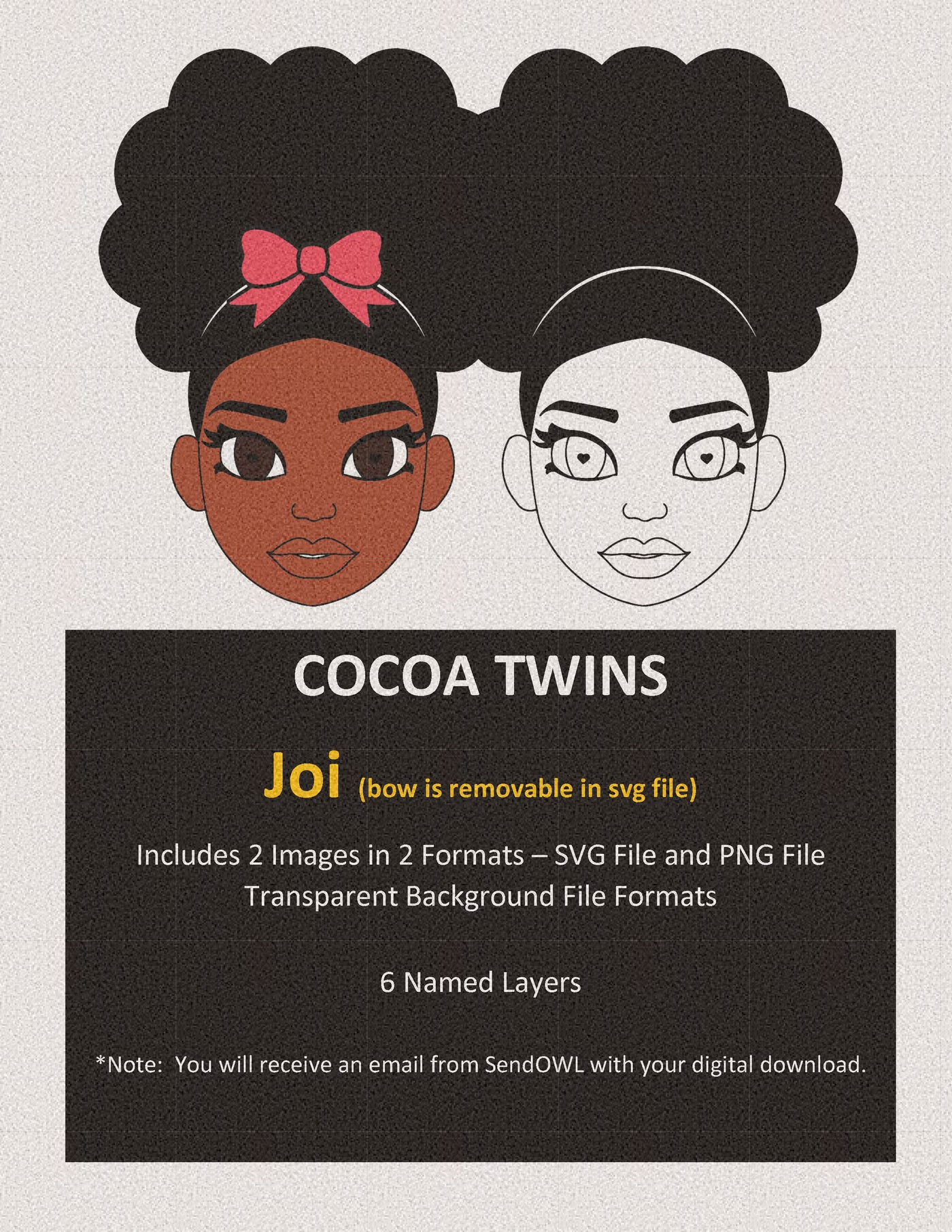 Digital Download  - SVG Cut File (Color) - Joi - Cocoa Twins