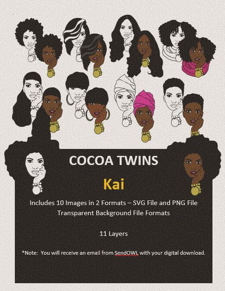 Digital Download  - Kai - SVG Layered File and PNG File Format - Cocoa Twins