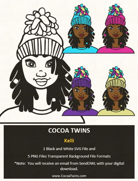 Digital Download  - Kelli - SVG Layered File and PNG File Format - Cocoa Twins