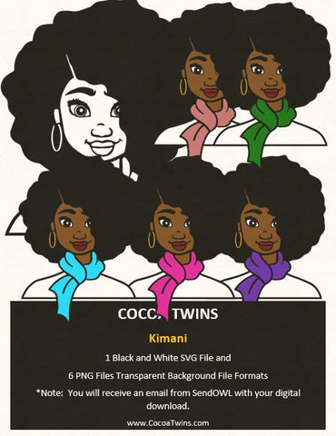 Digital Download  - Kimani - SVG Layered File and PNG File Format - Cocoa Twins