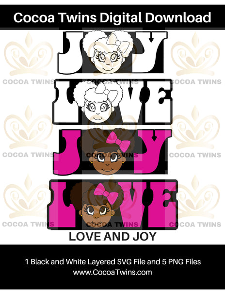 Digital Download  -  Love and Joy - SVG Layered File and PNG File Format - Cocoa Twins