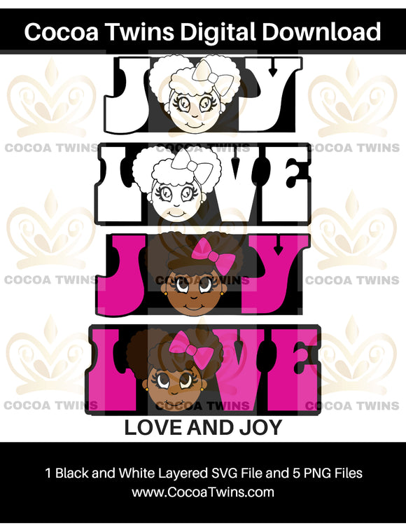 Digital Download  -  Love and Joy - SVG Layered File and PNG File Format