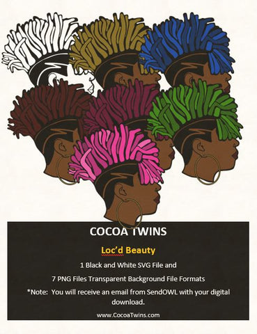 Digital Download  - Locd Beauty - SVG Layered File and PNG File Format - Cocoa Twins