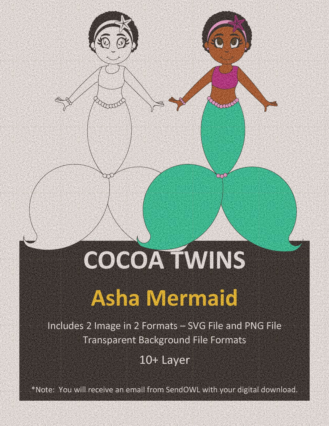 Digital Download  - Asha Mermaid - SVG Layered File and PNG File Format - Cocoa Twins