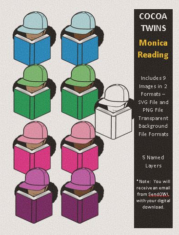 Digital Download  - Monica Reading - SVG Layered File and PNG File Format - Cocoa Twins