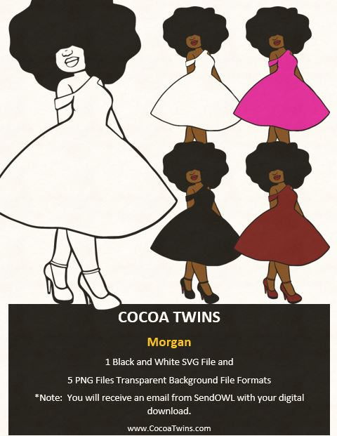 Digital Download  - Morgan - SVG Layered File and PNG File Format - Cocoa Twins