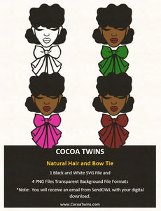 Digital Download  -  Natural Hair and Bow Tie - SVG Layered File and PNG File Format - Cocoa Twins