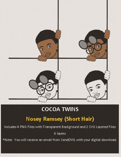 Digital Download  - Nosey Ramsey (Short Cut) - SVG Layered File and PNG File Format - Cocoa Twins