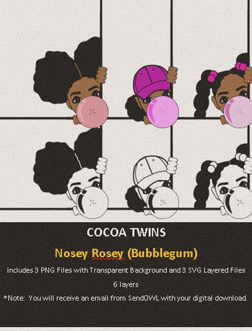 Digital Download  - Nosey Rosey (Bubblegum) - SVG Layered File and PNG File Format - Cocoa Twins