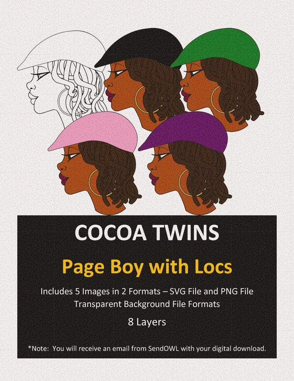 Digital Download  - SVG Cut File - Page Boy with Locs - Cocoa Twins