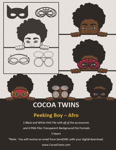 Digital Download  - Peeking Boy Afro - SVG Layered File and PNG File Format - Cocoa Twins