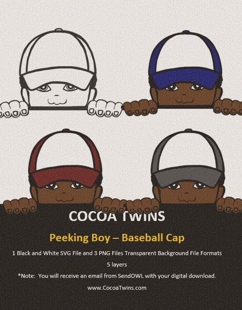 Digital Download  - Peeking Boy Baseball Cap - SVG Layered File and PNG File Format - Cocoa Twins