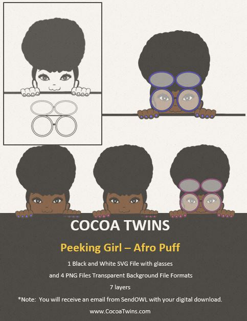 Digital Download  - Peeking Girl Afro Puff - SVG Layered File and PNG File Format - Cocoa Twins
