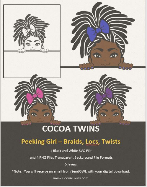 Digital Download  - Peeking Girl Braids or Locs - SVG Layered File and PNG File Format - Cocoa Twins