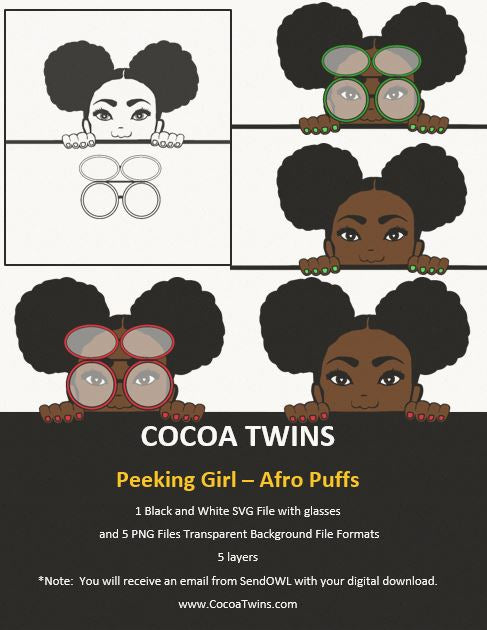 Digital Download  - Peeking Girl Two Afro Puffs   - SVG Layered File and PNG File Format - Cocoa Twins